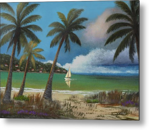 Tropical Metal Print featuring the painting Returning Home by Gordon Beck