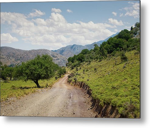 Tranquility Metal Print featuring the photograph Mountain Dirt Road In Northern Crete by Ed Freeman
