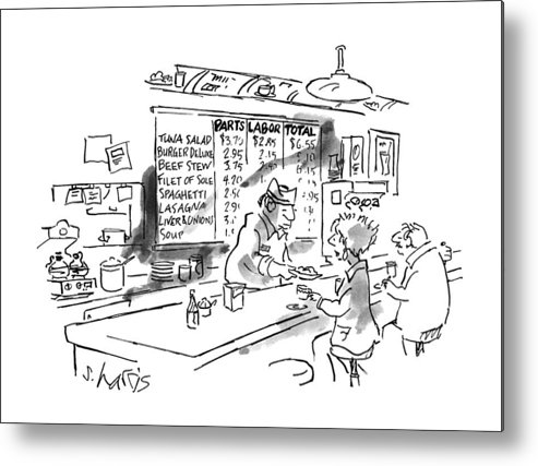 No Caption Items On Wall Menu Behind Diner Counter Are Divided Into Three Categories: Parts Metal Print featuring the drawing New Yorker August 21st, 1995 by Sidney Harris