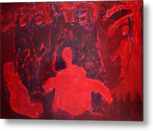 Mother And Dead Child Metal Print featuring the painting No.406 by Vijayan Kannampilly