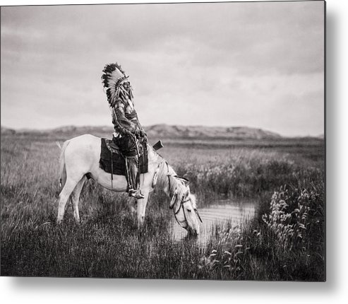 1905 Metal Print featuring the photograph Oglala Indian Man circa 1905 by Aged Pixel