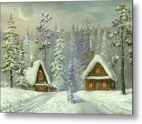 Art Metal Print featuring the digital art Old Christmas Card by Pobytov