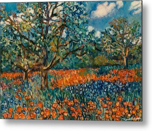 Flowers Metal Print featuring the painting Orange and Blue Flower Field by Kendall Kessler