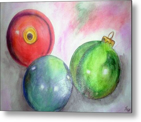 Christmas Metal Print featuring the painting Ornaments by Loretta Nash