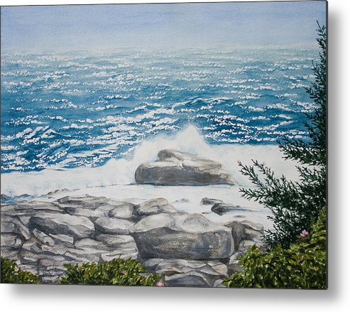 Seascape Metal Print featuring the painting Pemaquid Point by Monika Degan