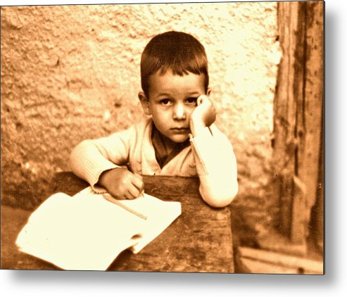 Photography Metal Print featuring the photograph Portrait of the Artist as a Young Boy by ITI Ion Vincent Danu