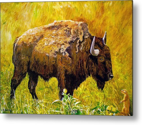 Buffalo Metal Print featuring the painting Prairie Companions by Michael Durst