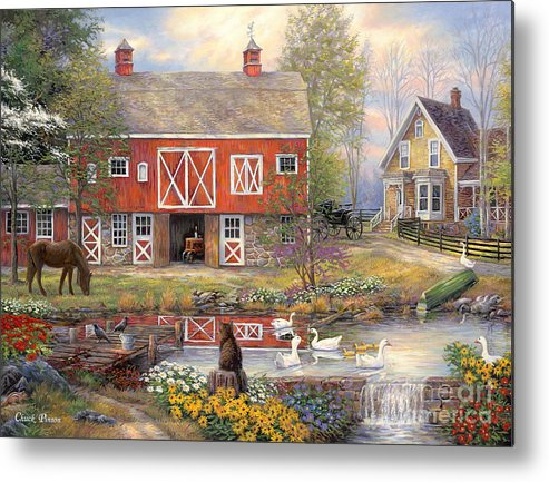 Americana Metal Print featuring the painting Reflections on Country Living by Chuck Pinson