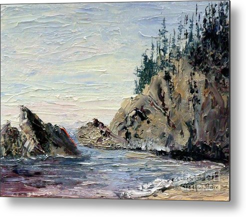 Seascape Metal Print featuring the painting Rocky Shore by Lynne Parker