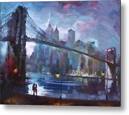 Romance Metal Print featuring the painting Romance by East River II by Ylli Haruni