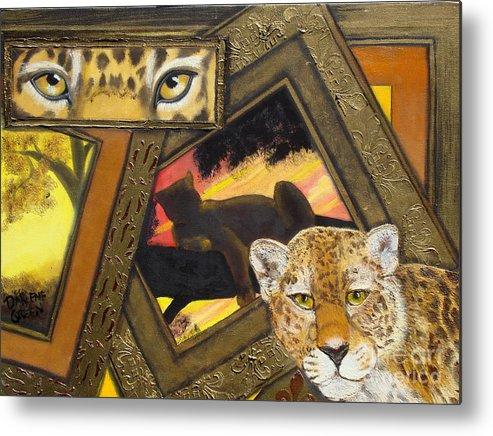 Leopard.frames Metal Print featuring the painting Safari Series-leopard by Darlene Green