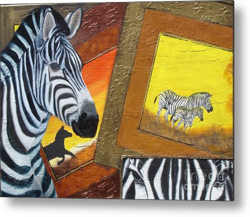 Frames Metal Print featuring the painting Safari Series-zebra by Darlene Green