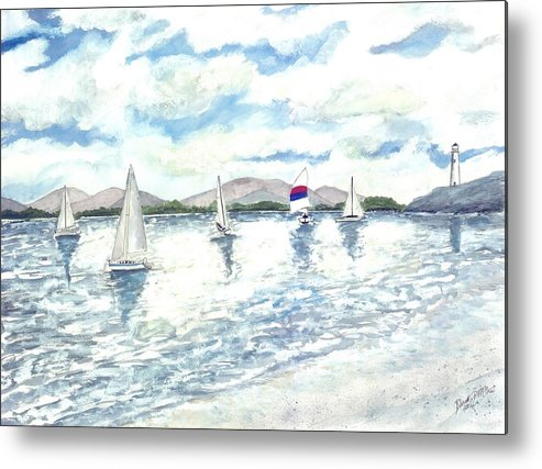 Sailboats Metal Print featuring the painting Sailboats by Derek Mccrea