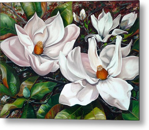 Magnolia Painting Flower Painting Botanical Painting Floral Painting Botanical Bloom Magnolia Flower White Flower Greeting Card Painting Metal Print featuring the painting Scent Of The South. by Karin Dawn Kelshall- Best