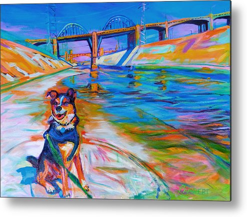 Dog Metal Print featuring the painting Scout the River Guard by Bonnie Lambert
