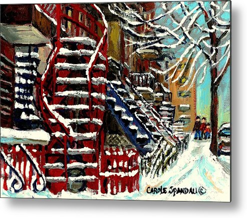 Montreal Metal Print featuring the painting Snowy Steps The Red Staircase In Winter In Verdun Montreal Paintings City Scene Art Carole Spandau by Carole Spandau