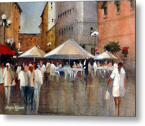 Nice Metal Print featuring the painting Street Market in Nice by Charles Rowland