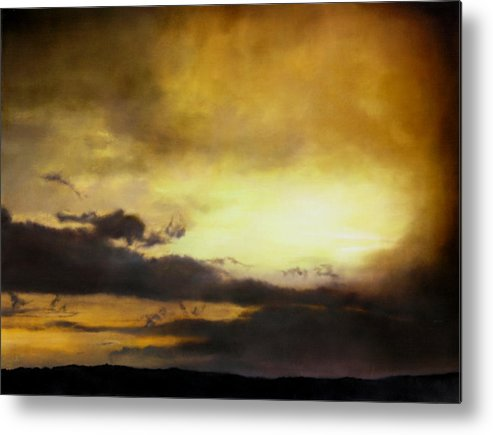 Sunset Metal Print featuring the painting Pouzol Sunset 92 x 122cm by Thomas Darnell