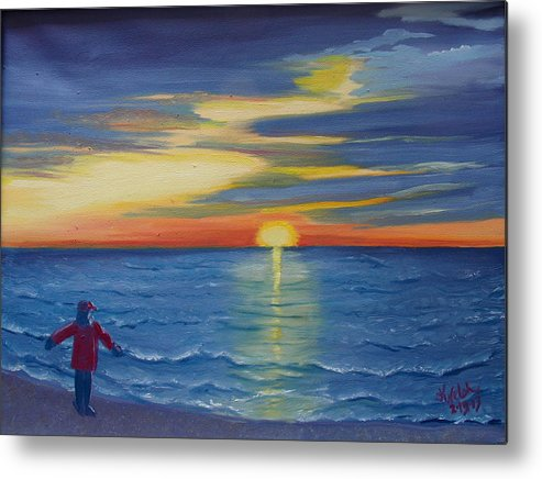 Sunset Metal Print featuring the painting Sunset Bay by Kathern Ware