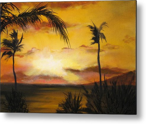 From The Maui Sunset Resort Metal Print featuring the painting Sunset from the balconey by Thomas Restifo