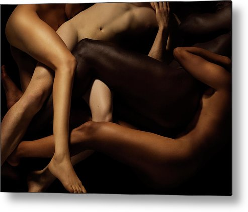 Young Men Metal Print featuring the photograph Tangled Human Bodies Of Different Skin by Jonathan Knowles