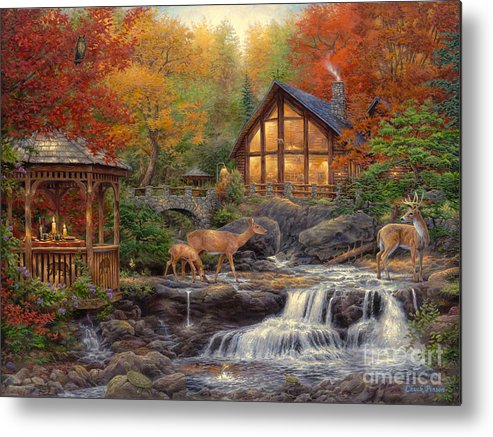 Cabin Metal Print featuring the painting The Colors of Life by Chuck Pinson