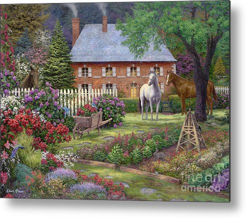 Mother's Day Gift Idea Metal Print featuring the painting The Sweet Garden by Chuck Pinson