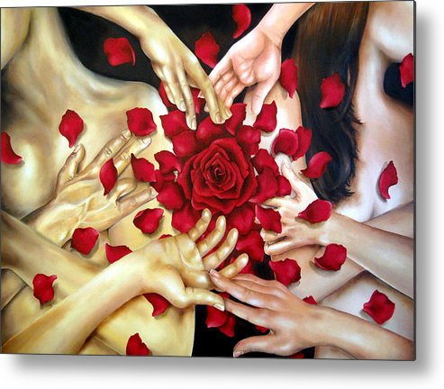Original Metal Print featuring the painting Touch by Stephanie LeVasseur