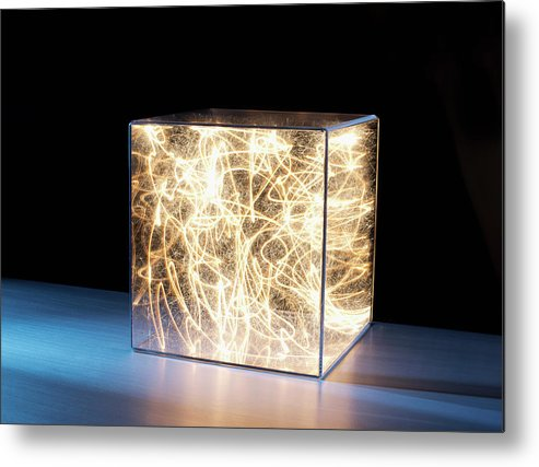Block Shape Metal Print featuring the photograph Trail Of Bright Light In Box by Pm Images