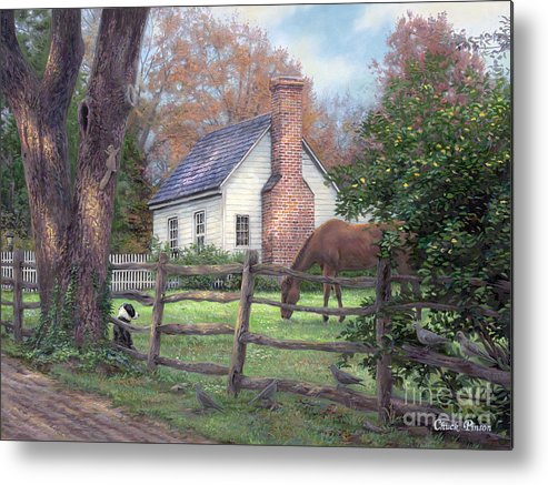 Folk Art Metal Print featuring the painting Where Time Moves Slower by Chuck Pinson