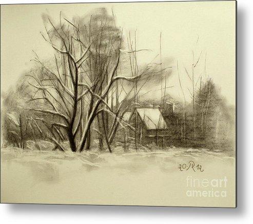 Landscape Metal Print featuring the drawing Winter by Raimonda Jatkeviciute-Kasparaviciene