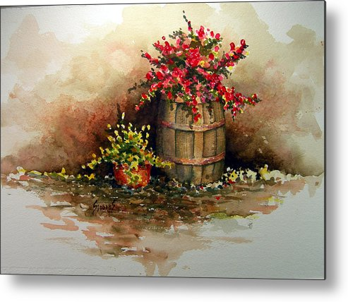 Barrel Metal Print featuring the painting Wooden Barrel with Flowers by Sam Sidders