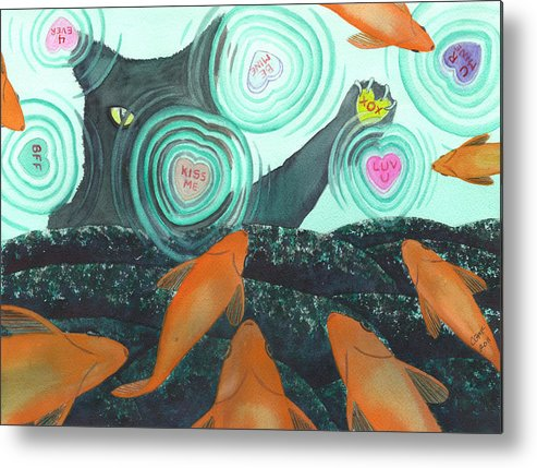 Cat Metal Print featuring the painting XOX by Catherine G McElroy