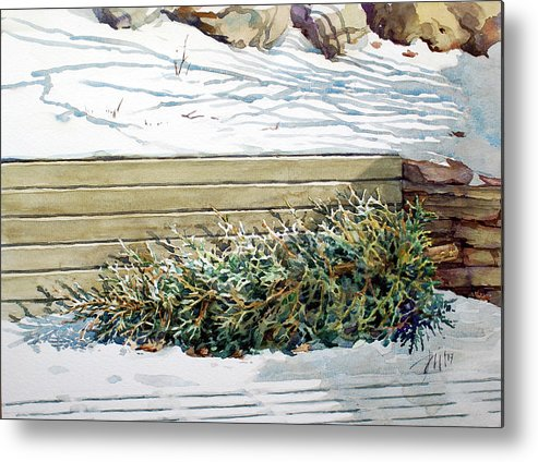 Peter Sit Watercolour Metal Print featuring the painting After Christmas by Peter Sit