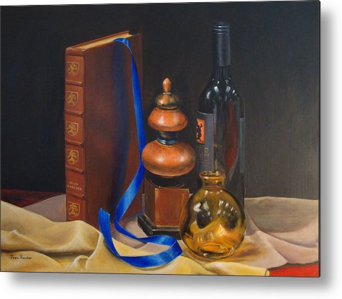 Book Metal Print featuring the painting Blue Ribbon by Jean Rascher