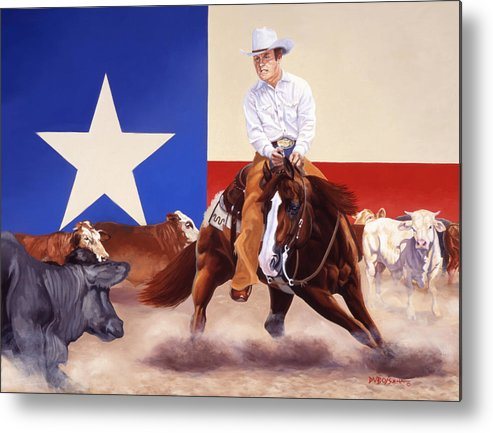 Cutting Horse Painting Metal Print featuring the painting Buster Welch On Peppy San Badger by Howard Dubois