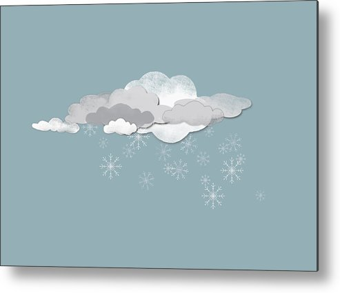 Horizontal Metal Print featuring the digital art Clouds And Snowflakes by Jutta Kuss