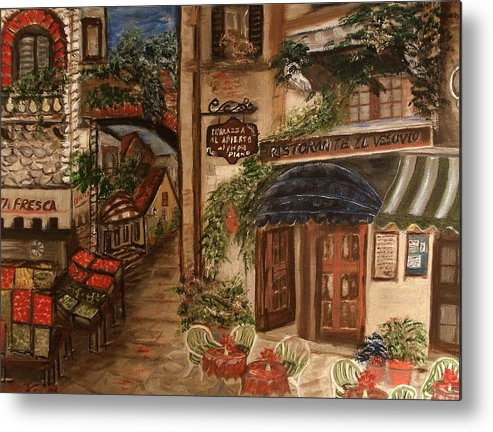 Landscape Metal Print featuring the painting European Village by Kenneth LePoidevin