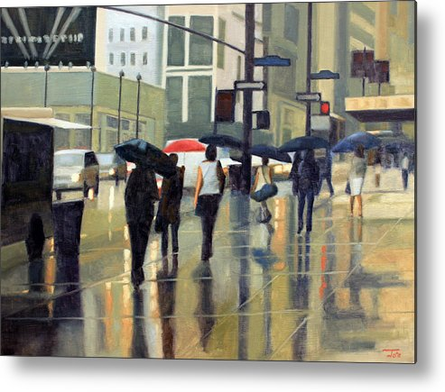 People Metal Print featuring the painting Manhattan rain by Tate Hamilton