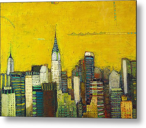 Usa Metal Print featuring the painting Manhattan with Chrysler and Empire building by Habib Ayat