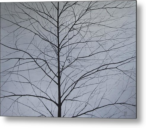 Winter Trees Metal Print featuring the painting Sorrow by Roger Calle