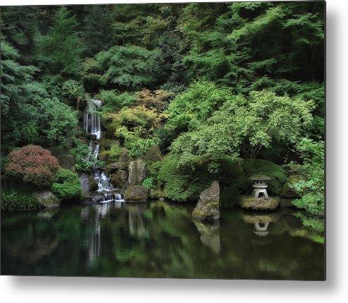 Waterfall Portland Japanese Garden Oregon Metal Print By Daniel Hagerman