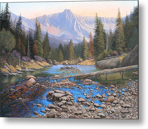 Rocky Mountain Landscape Metal Print featuring the painting 080503-4836 Late Summer Run-Off by Kenneth Shanika