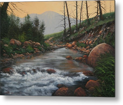Original Oil Painting Metal Print featuring the painting 090430-1216  Trout Creek - Spring by Kenneth Shanika