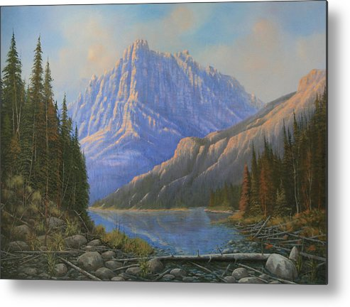 Landscape Metal Print featuring the painting 090523-3040  Between Heaven And Earth by Kenneth Shanika