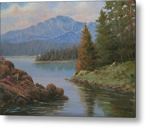 Landscape Metal Print featuring the painting 091021-912 The Peak In June by Kenneth Shanika