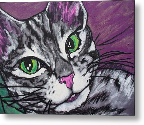 Cat Metal Print featuring the painting Purple Tabby by Sarah Crumpler