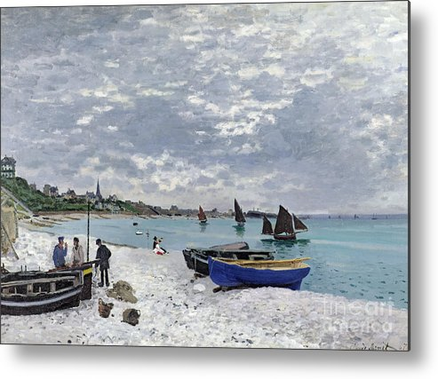 Coastal;french;rowing Boat;sailing;sainte Adresse; Boats Metal Print featuring the painting The Beach at Sainte Adresse by Claude Monet