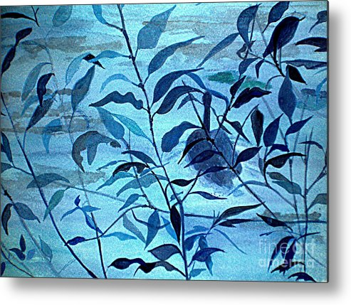 Blue Metal Print featuring the painting Blue on Blue by Vi Mosley