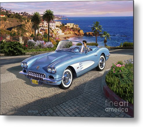 Corvette Metal Print featuring the digital art '58 Corvette Roadster by Stu Shepherd